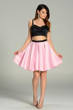 Pink Two Piece Crop Top and Skirt Cocktail Dress