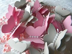 Light Pink and Silver Gray Butterflies Mix 50 by TheHouseofDG, $25.00