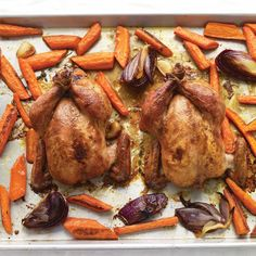 Maple syrup is an easy, delicious glaze for this quick-cooking bird. Instead of hens, you can substitute a whole chicken; just cook it a bit longer.