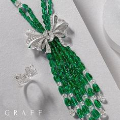 Graff Diamonds. The unique shape of the Graff bow is created by setting sculpted rows of diamonds which curve and dome to create a life-like voluminous bow with a 'hand-tied' effect.