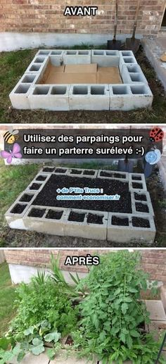 20 insanely clever gardening tips and ideas raised garden bed plans, raised bed garden design Raised Garden Bed Plans, Raised Bed Garden Design, Raised Patio, Vegetable Garden Design, Raised Beds, Vegetable Gardening, Backyard Patio, Backyard Landscaping, Concrete Backyard