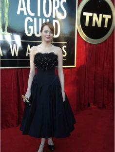 Emma Stone looks glamorous in a black Alexander McQueen gown. Twitter User: SAGawards