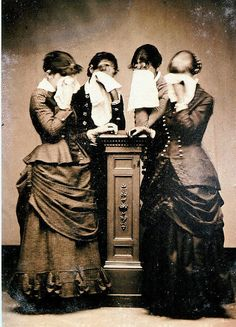 Women in mourning, 19th century.