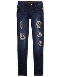Printed Patchwork Super Skinny Jeans