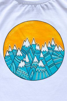 Hand painted White and Colorful, Boho, Bohemian t-shirt, Women T-shirt: Sunset in mountains T Shirt Painting, Fabric Painting, Puffy Paint Shirts, Easy Art For Kids, Shirt Drawing, Fabric Markers, Painted Clothes, T Shirt Diy, Tshirt Colors