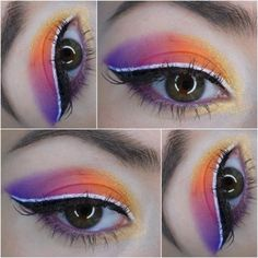 Bollywood eye makeup #purple #cateye #whiteliner #maquillage - see more looks at bellashoot.com