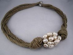 Necklace natural linen thread knots freshwaterpearls by espurna88, €24.99