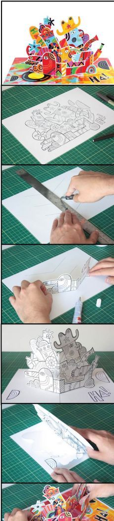 Kirigami, Arte Pop Up, Pop Up Art, Paper Pop, Diy Paper, Paper Crafts, Up Book, Book Art, Karten Diy