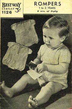 Bestway 1126  baby  rompers  vintage knitting by Ellisadine