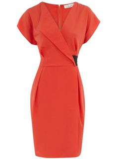 Coral collar wrap dress