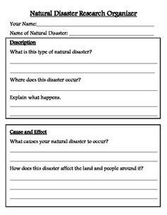 NATURAL DISASTER RESEARCH ORGANIZER AND BROCHURE TEMPLATE - TeachersPayTeachers.com