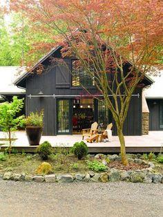 Pole Barn House Plans and Rates Exterior Farmhouse with Adirondack chairs Barn … - pole barn homes Barn House Design, Cabin Design, Loft Design, Deck Design, Landscape Design, Modern Design, Black House Exterior, Cottage Exterior, Cabin Exterior Colors