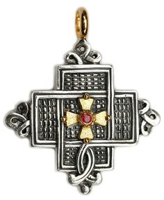 NEW Gerochristo 5054 ~ Solid 18K Gold, Sterling Silver & Ruby Coptic Cross Pendant
