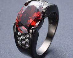 Luxusný dámsky prsteň zo zliatiny tmavého zlata s veľkým rubínom Sterling Silver Bracelets, Silver Ring, Red Rings, Black Gold, Pink Bling, Rings For Men, Orange, Yellow, Wedding Rings