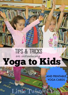 Helpful tips on teaching yoga to kids, from a professional children's yoga teacher. Plus, tons of classroom yoga lesson plans and printable yoga movement cards! #LittleTwistersYoga #YogainSchools #StorytimeYogaLessonPlans