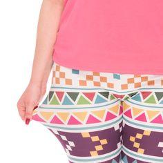 962d931e08a5ea Womens Plus Size Multicolor Aztec Motif Tribal Graphic Print Design Ladies  Yoga Pants Leggings
