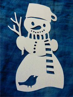 Sněhulák - vystřihovánka do okna