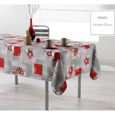 Šedý ubrus na kuchyňský stůl se vzorem vloček Decoration, Furniture, Motifs, Home Decor, Red, Noel, Tablecloths, Dekoration, Room Decor