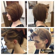 """Another beautiful undercut bob on this stunner!! Been doing this girls hair for prob 4 years now, and that's her natural hair color!! #haircut #haircut…"""