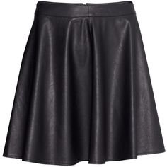 H&M Imitation leather skirt (45 PLN) ❤ liked on Polyvore featuring skirts, mini skirts, bottoms, h&m, leather, black, skater skirt, faux leather circle skirt, short skirts and short mini skirts