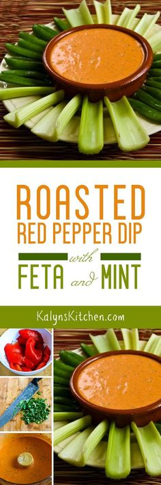 When you need something healthy to nibble on, this Roasted Red Pepper Dip with Feta and Mint is low-carb, gluten-free, meatless, and South Beach Diet Phase One. And it starts with roasted red peppers in a jar! [found on KalynsKitchen.com] #KalynsKitchen #RoastedRedPepperDip #RoastedRedPepperDipMintFeta #LowCarbRoastedRedPepperDip