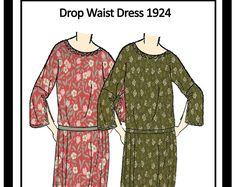 1920s Kimono Sleeve Dress Sewing Pattern - Full Size Paper Sewing Pattern