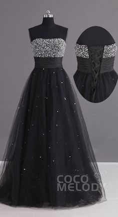 Black Beading Prom Dress with Lace-up Backs! All Sizes & Colors! #cocomelody #beading #promdresses #blackpromdresses