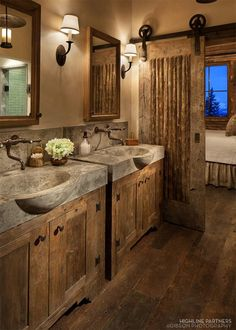 15 Dreamy Sliding Barn Door Designs is part of Rustic bathroom designs 15 Dreamy Sliding Barn Door Designs that are sure to inspire! House Design, Door Design, Rustic Bathroom Designs, Barn Door Designs, New Homes, Log Homes, Rustic Bathrooms, Bathroom Design, Rustic House