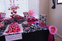 Baby shower dessert table, baby shower ideas, pink and black and white damask