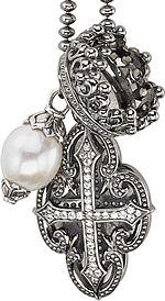 "Scott Kay Black Ruthenium Cross & White Mother of Pearl Necklace-36"" N3760SRBPAWS36"