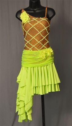 Sexy Slanted Ruffle Skirt Lime Green Latin Dress