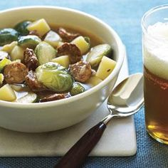 Soup with brussels sprouts, andouille sausage, and red potatoes.