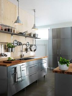 My Ideal Kitchen Faktum With Rubrik Stainless Steel Doors Drawers And NumerÄr Solid Oak Worktop Joy Cooper Open Multi Colored Cabinets