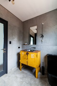 industrial-styled bathroom.