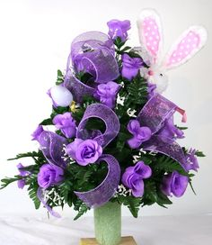 Easter Bunny Cemetery Flower Arrangement Featuring Purple Roses With Babies Breath, $39.99