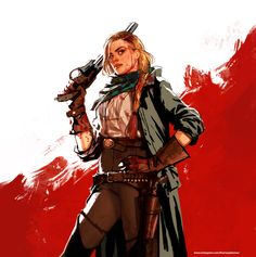 Red Dead - Sadie Adler (Alex McKenna) by ThomasJakeRoss on DeviantArt Character Concept, Character Art, Character Design, Character Portraits, Dnd Characters, Female Characters, Red Dead Redemption 1, Read Dead, Rdr 2