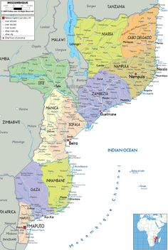 Map of Mozambique and Political Map. This is where my parents live as missionaries.