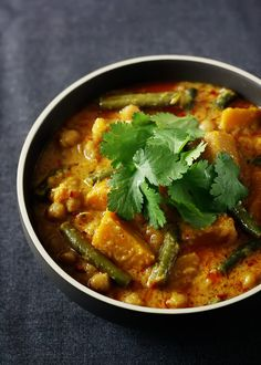 // Pumpkin, chickpea, lemongrass curry.