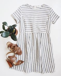 """Striped short sleeve fit and flare dress. Made with high quality woven cotton material that is non-stretch. Size small measures approx. 33"""" in length. This dress has a slightly loose fit. Back zipper                                                                                                                                                       More"""