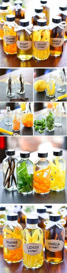 DIY Flavored Extracts - Easy instructions for Vanilla, Mint, Orange and Lemon Extracts! These make great gifts, but start them weeks ahead of time if you intend to gift them. Homemade Vanilla Extract, Good Food, Yummy Food, Cooking Recipes, Healthy Recipes, Baking Tips, Food Gifts, Diy Gifts, Diy Food
