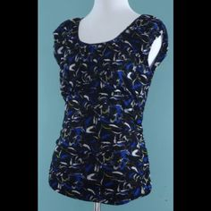 KENNETH COLE Black Blue Yellow Mesh Top Size Small KENNETH COLE Black Blue Yellow Mesh Layered Stretch Top Size Small Kenneth Cole Tops