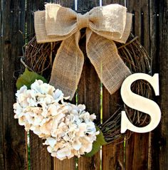 Cream Hydrangea Monogrammed Wreath - Initial Wreath - Personalized Wreath - Wedding Decor - Monogram Wreath - Door Wreath - Rustic Wreath on Etsy Diy Wreath, Grapevine Wreath, Burlap Wreath, Wreath Ideas, White Wreath, Initial Wreath, Hydrangea Wreath, White Hydrangeas, Front Door Wreaths