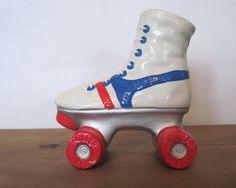 roller derby vintage 1980s Rollerskate Ceramic Vase  red by cammoo