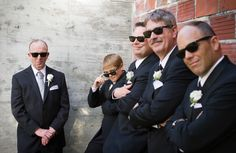 Groomsmen looking cool in their Ray Bans, which were a gift from the couple  http://poppyandjune.com/2015/08/10/real-wedding-jack-pearl/