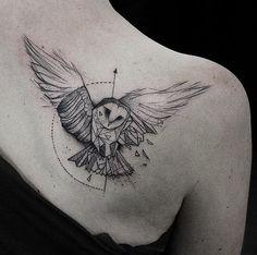 Geometric owl tattoo by Kamil Mokot