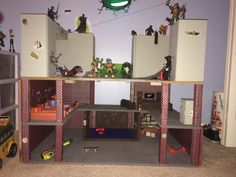 DIY tmnt lair my son built for my grandson because stores were sold out at Christmas!