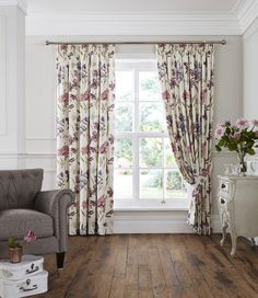 Florence Pencil Pleat Curtains Heather | Ponden Homes