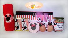 Mickey Hampers Theme 1 Red Towel 2 Chocolate Bars 1 Cupcake  2 Eggs 1 Candy Jar