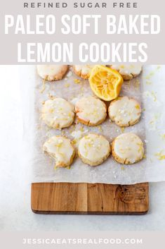These Soft-Baked Paleo Lemon Cookies are everything you could want in a dessert. They're sweet + zingy, satisfyingly soft with the perfect crunch. They comes together so easily, with very few gluten-free and grain-free ingredients, but they're sure to be adored by the entire family! They're the perfect addition to any holiday cookie box. Paleo Dessert, Healthy Dessert Recipes, Real Food Recipes, Baking Recipes, Paleo Recipes, Paleo Baking, Yummy Snacks, Cookie Recipes, Basic Cookies