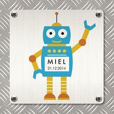 Zwaaiende robot - Geboortekaartje www.carddreams.be